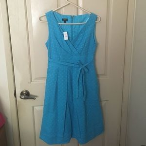 Talbots Dresses - Talbots teal blue v neck fit & flare petite dress